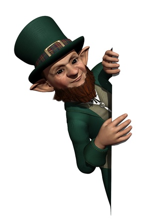 A curious leprechaun takes a look over an edge or border - 3D render.