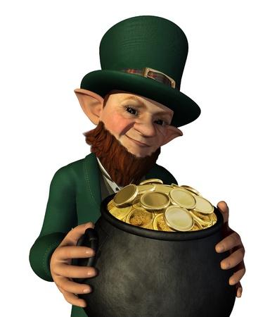 A lucky leprechaun has found his pot of gold - 3d render.