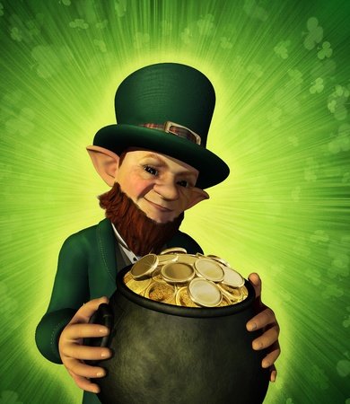 A lucky leprechaun has found his pot of gold - 3d render.