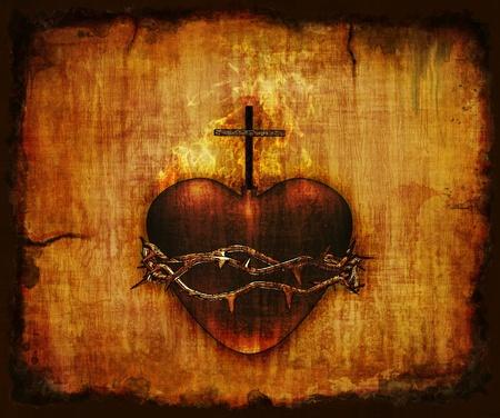 羊皮紙 - 3 D のレンダリング、デジタル絵画にイエスキ リストの神聖な心 写真素材 - 12426488