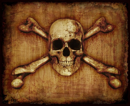 A grunge skull and crossbones on parchment - 3D render with digital painting
