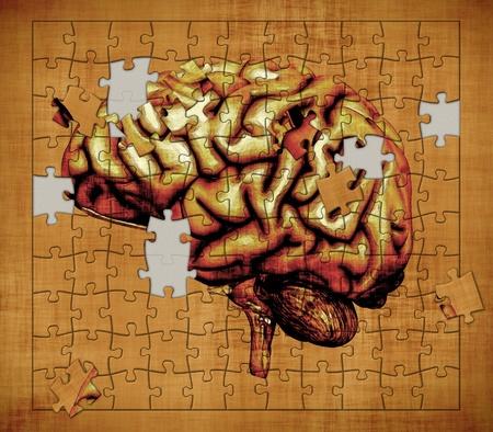 Un rompecabezas cuenta con la imagen de un cerebro humano - representa el misterio de la conciencia humana manipulada Digital 3d