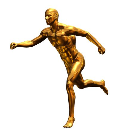 실행하는 근육 황금 남자 앞에 모습을 묘사하는 3D 렌더링