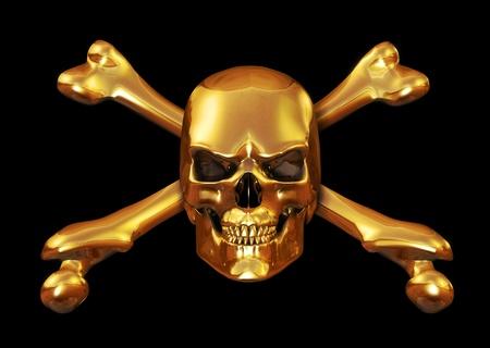 Solid Gold schedel gekruiste beenderen - 3d render