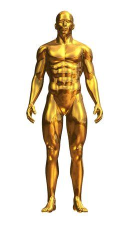 Un homme debout d'or - devant - Rendu 3D Banque d'images - 13677398