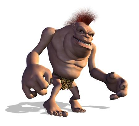 A cartoon caveman with a devious grin - 3D render