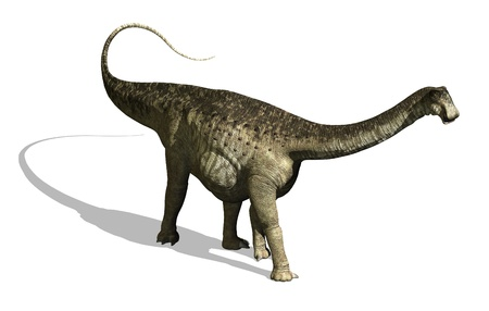 The Nigersaurus was a plant eating dinosaur that lived during the middle Cretaeous period - 3d render
