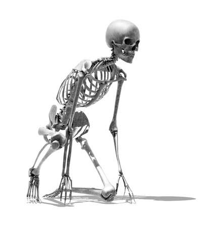 3D render of a skeleton in a runner