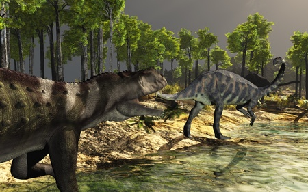 Prehistoric scene featuring a Prestosuchus and two Massospondylus dinosaurs - 3d render