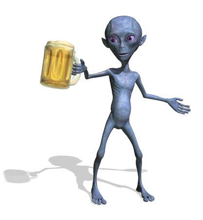 Een vriendelijke alien biedt u een pul bier - 3d render