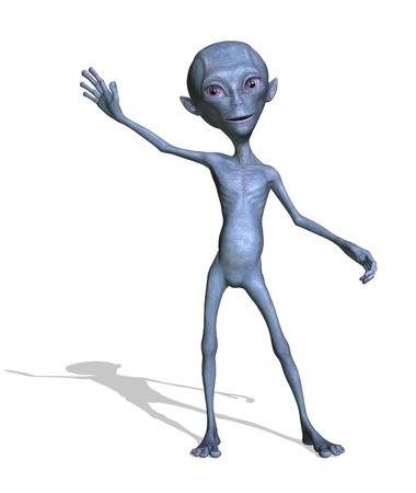 Een vriendelijke alien begroet je met een glimlach - 3d render