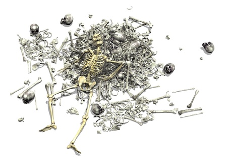 A pile of human bones with an intact skeleton on top - 3D render