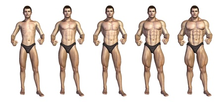 Chart depicting a bodybuilder gaining muscle mass over time - 3D render