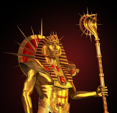 3D render depicting an ancient Egyptian Pharaoh statue