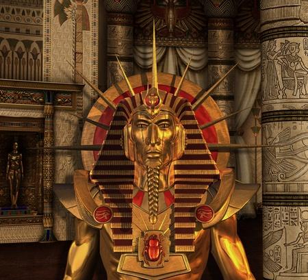 A scenec del antiguo Egipto con una estatua del faraón en una cámara mortuoria - 3D render Foto de archivo - 15042137