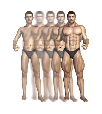 Illustration depicting a bodybuilder gaining muscle mass over time - 3D render