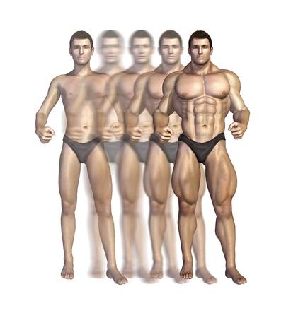 Illustrazione raffigurante un bodybuilder aumentare la massa muscolare nel tempo - rendering 3D Archivio Fotografico