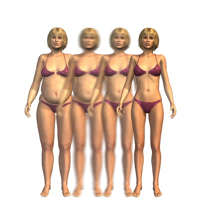 A young woman losing weight over time - 3D render