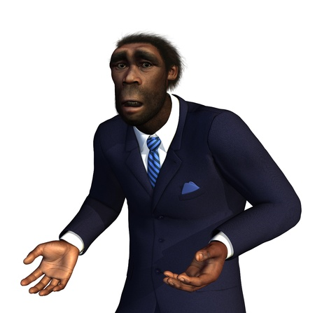 A Homo Erectus man an extinct ancestor to modern humans, feels hopelessly lost in the 21st Century - 3D render with digital painting  Banque d'images