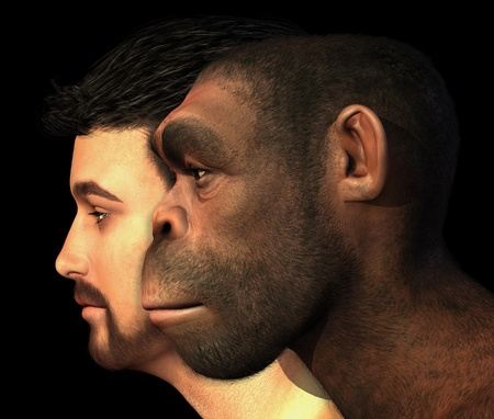 A portrait of a modern human and a Homo Erectus man side-by-side - 3D render with digital painting