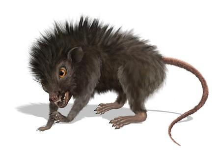 Digitaal geschilderde 3D render van een griezelige mutant rat