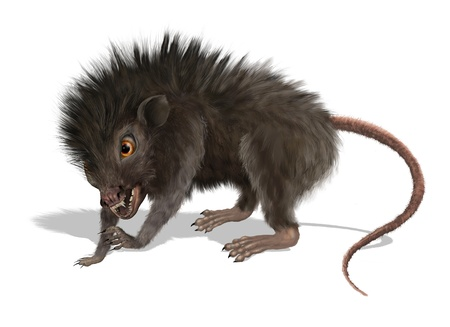 Digitally painted 3d render of a creepy mutant rat