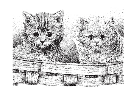 Two cute kittens in a basket -  version of my original pen   ink drawing, created by me  Vectores