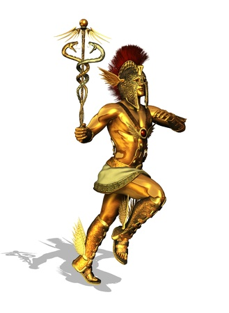 3D render depicting the Greek God Mercury, messenger of the gods, the god of trade, merchants and travel