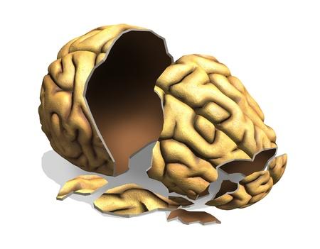 A broken brain - digitally manipulated 3D render