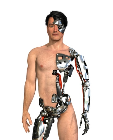 A man has had large areas of his body replaced with robotic parts - 3D render with digital painting