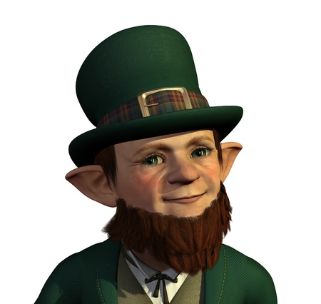 Portrait of a cute Leprechaun - 3d render Фото со стока - 17665780
