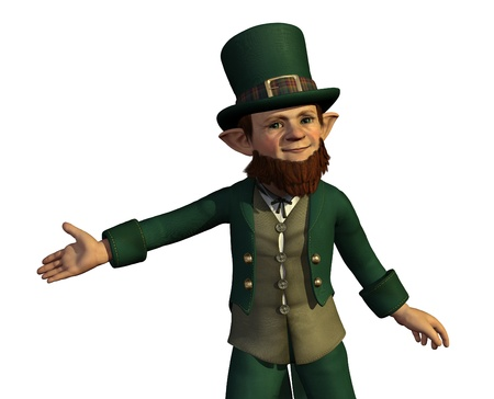 A leprechaun proudly presents your product - 3d render