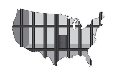 An Illustration concerning mass incarceration in the USA  向量圖像