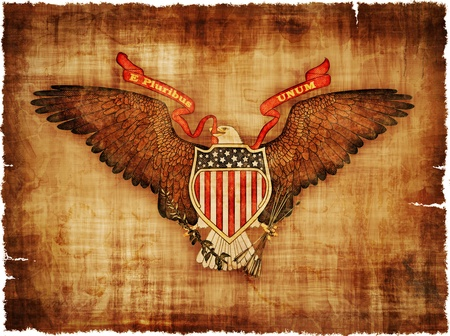 The Great Seal of the USA on worn ragged parchment - digital image. Stock fotó - 18648305