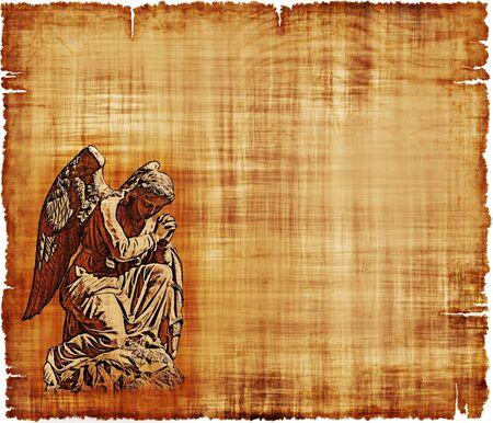 기도 천사를 특징으로 오래 된 착용 된 양피지 - 디지털 이미지