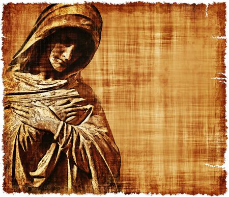 An old worn parchment featuring the Virgin Mary in sorrow - digital image created using a cemetery monument