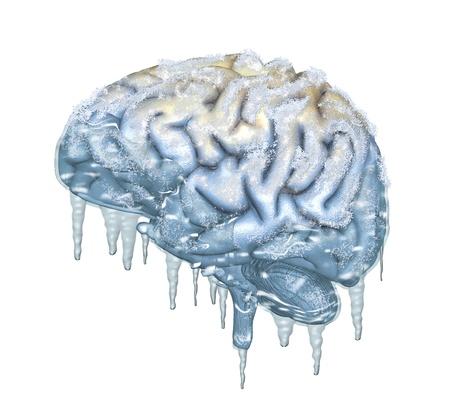 Un cerveau congelé gouttes avec des glaçons - rendu 3D avec peinture numérique.