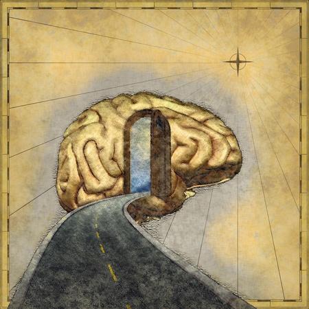 脳 - 3 d レンダリング、デジタル絵画のロードマップ。