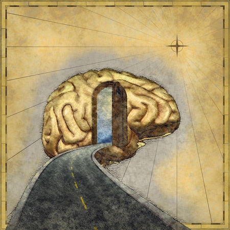 Road map to the brain - 3d renders and digital painting. Stock Photo