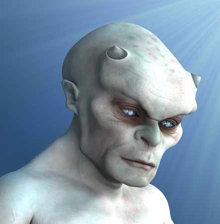 Portrait of a pale, ivory-colored demon in a pensive mood - 3D render with digital painting.