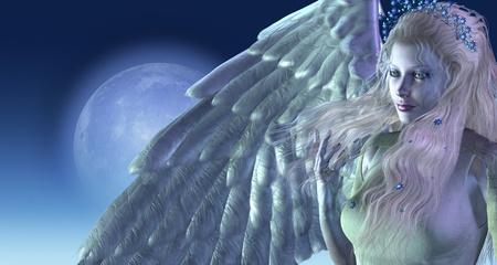 Een mooie engel in het maanlicht - 3D render met digitaal schilderen. Stockfoto