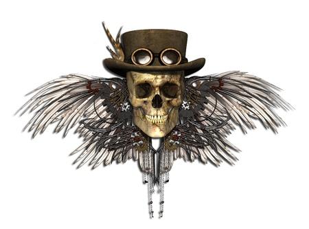 ホワイト - 3d レンダリング上で分離されてスティーム パンク頭蓋骨。
