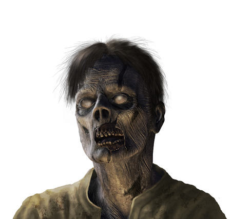 Portrait of a zombie - 3d render with digital painting.