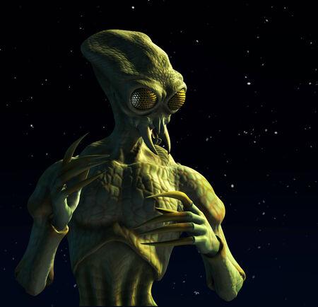 星空の背景を持つこの 3 d レンダリング、昆虫のような外国人のようになりますその昆虫から進化されています。