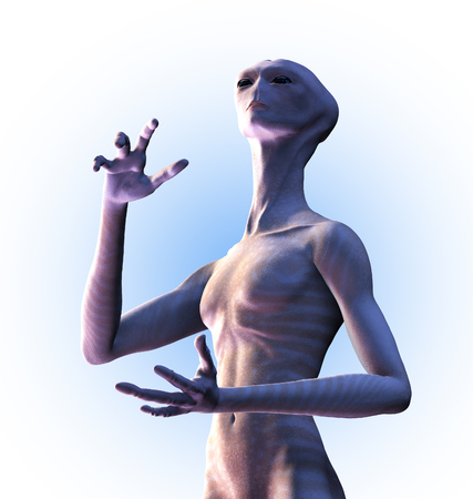An alien wonders is there is any intelligent life out there - 3D render. Stock Photo