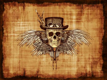 Een steampunk schedel op perkament - digitaal gemanipuleerd 3d render. Stockfoto