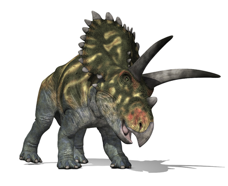 The Coahuilaceratops dinosaur lived in Mexico during the Late Cretaceous Period - 3D render. Фото со стока - 30872044