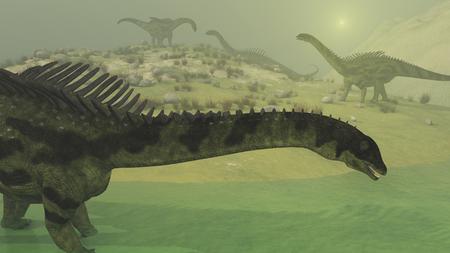 Several Agustinia dinosaurs explore a foggy landscape - 3d render.