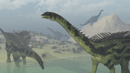 Several Agustinia dinosaurs exploring on a hazy day - 3d render. Stock Photo