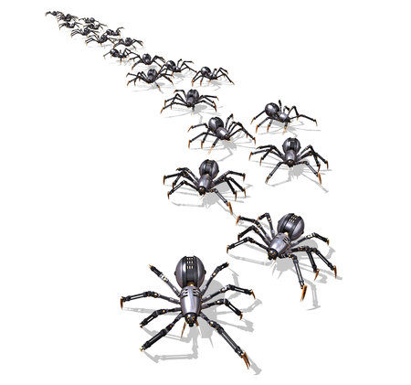 A large group of RoboSpiders on the move - 3D render. Stock Photo